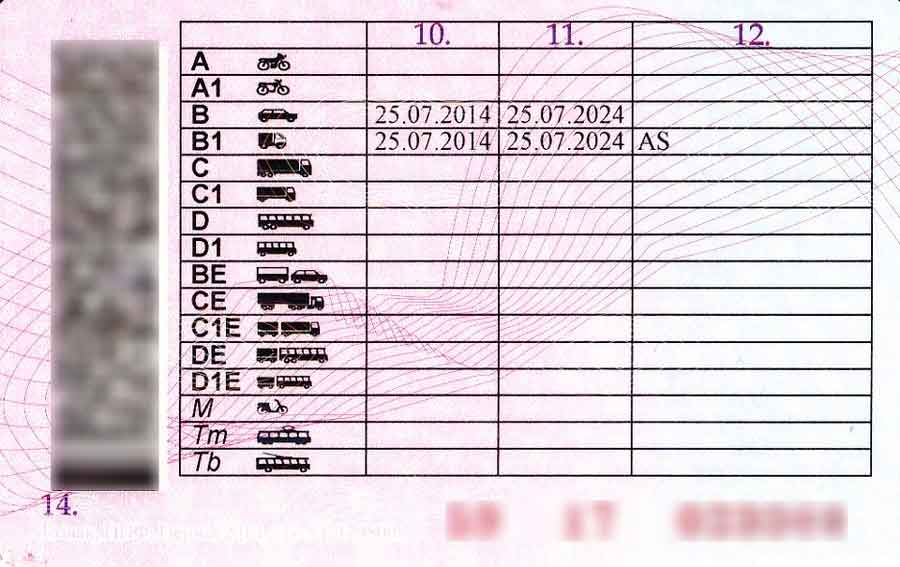 Вид водительского удостоверения сзади